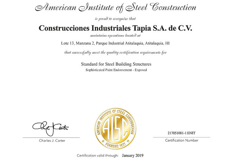 Certificaci 243 N Aisc Citapia Construcciones Industriales
